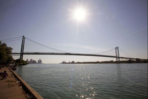 Ambassador Bridge. Detroit, left. Windsor, Ontario, Canada, right.