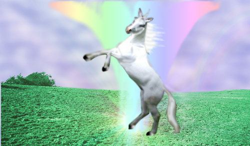 Hoppy, The Chrisrmas Unicorn, spreading cheer to all the good little girls and boys.