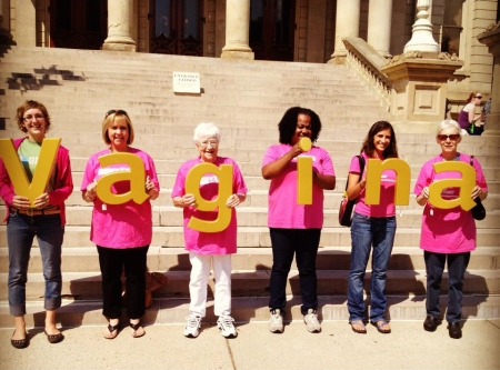 Planned Parenthood of Michigan supporters in front of The Michigan Senate.