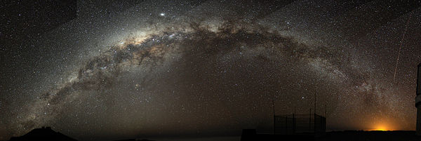 Not seen in Los Angeles, a fish-eye mosaic of the Milky Way arching at a high inclination across the night sky, shot from a dark sky location in Chile from the wiki.