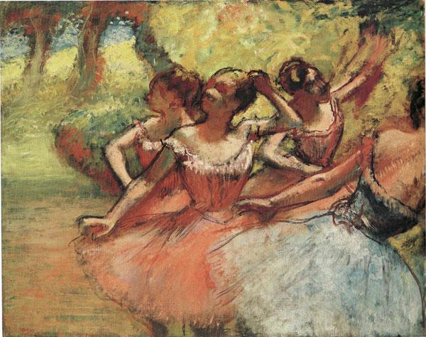 Vier Tänzerinnen auf der Bühne, Edgar Degas, c.1885-1890.