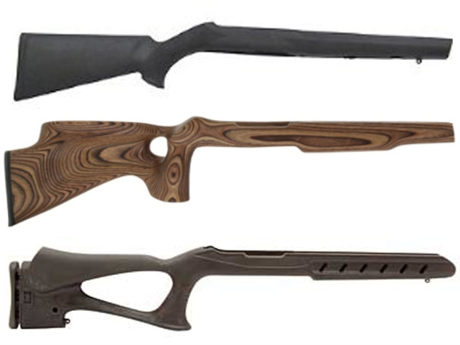 Top to bottom: standard rifle stock, thumbhole stock, pistol grip stock.