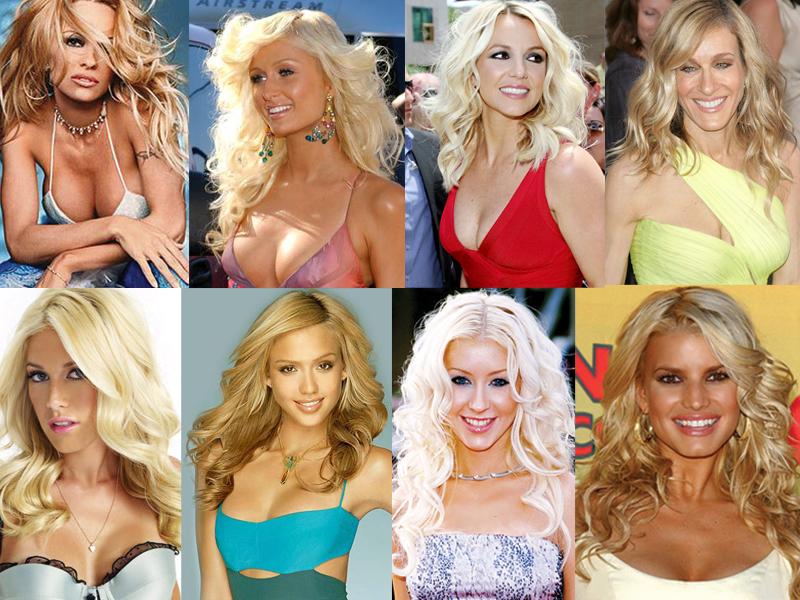 Pamela Anderson, Paris Hilton, a random model, Sarah Jessica Parker, Heidi Montag, a random model, Christina Aguilera, Jessica Simpson.