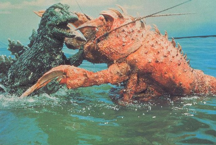 I was just trying to remember what my teddy bear was called and I get Gozilla v. Sea Monster.