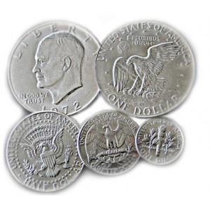 Silver dollar, top, half dollar, quarter, dime, bottom. image from houdini,com.
