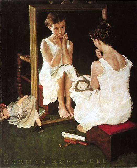 I grew up with a signed print of this painting. It's still one of my favorites. Girl At The Mirror, Norman Rockwell, 1954.