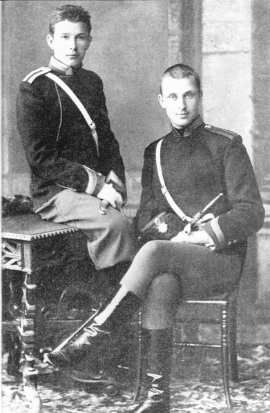 Mannerheim (right) with a fellow student, Antanas Ričardas Druvė in Nicholas Cavalry School, St Petersburg, late 1880s. Image from wiki.
