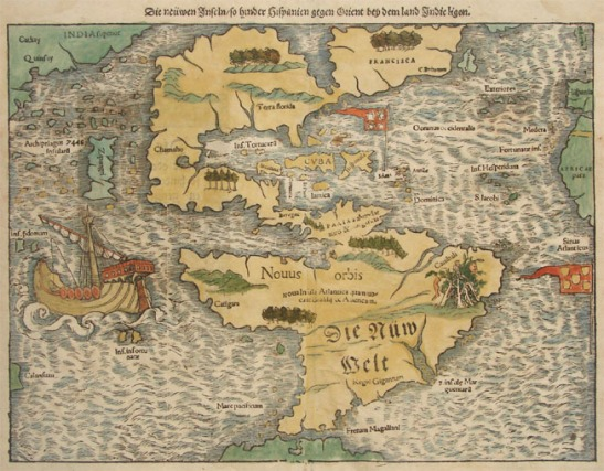 The earliest known map of north America from 1540. Image from helmink.com
