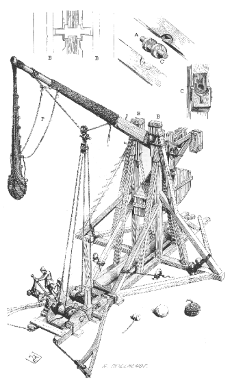 "WTF kind of world do we live in that the search ""monkey with a trebuchet"" yields no monkeys with trebuchets? Image from wiki."