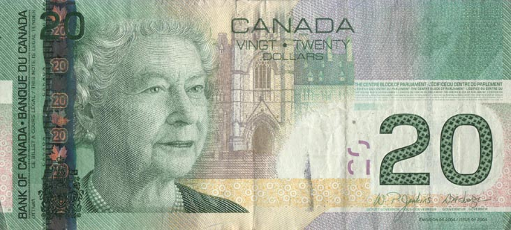 I love Canadian money. It's so colorful. Image from bridgeandtunnelclub.com