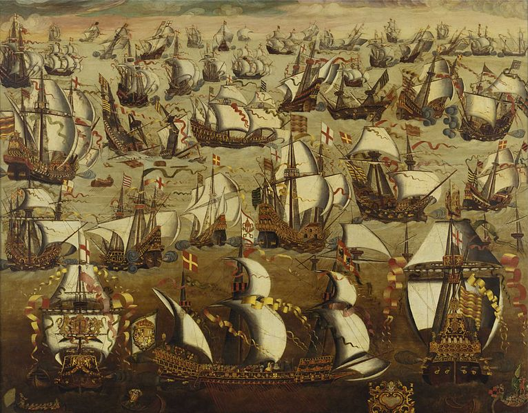 The Invincible Armada proves to be pretty vincible after all. n  English ships and the Spanish Armada, August 1588. Image from Wiki.