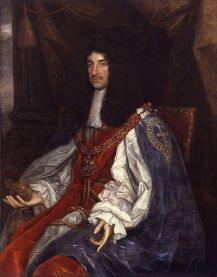 Charles II. I wonder what his footwear was like. Image from wiki.