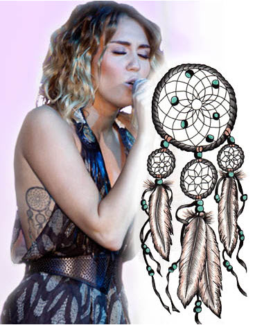 Miley Cyrus and her dumb dream catcher tattoo. Image from tattooforaweek.com