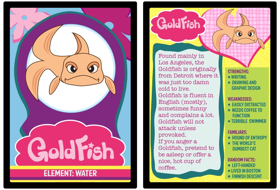 Get your one of a kind Goldfish trading card! Trade them with friends (laminator sold separately).