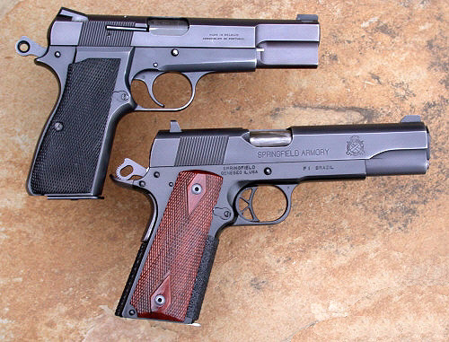Top: Browning Hi Power 9mm. Bottom: Springfield 1911 .45 ACP. (www.hipowersandhandguns.com)