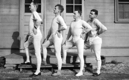 This is what tighty whiteys looked like back then. They called them union suits.  (www.underwearexpert.com)