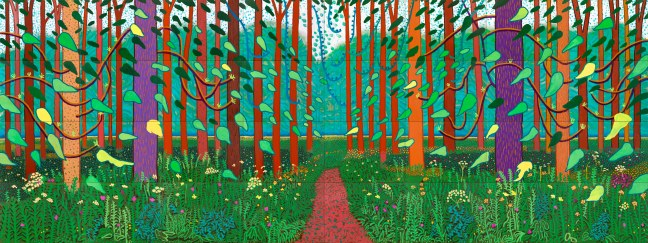 """""""THE ARRIVAL OF SPRING (ONE OF A 52 PART WORK)"""" 2011 OIL ON 32 CANVASES (36 X 48"""" EACH) © DAVID HOCKNEY"""