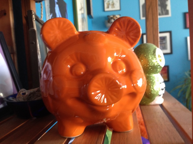 Orange pig made of orange slices is very literal